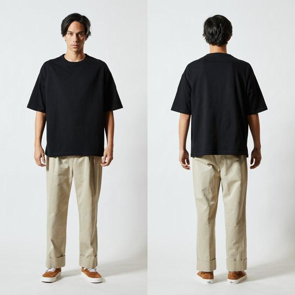 5.6オンス ビッグシルエット Tシャツ(5508-01) 着用イメージ モデル身長182cm/L 002ブラック